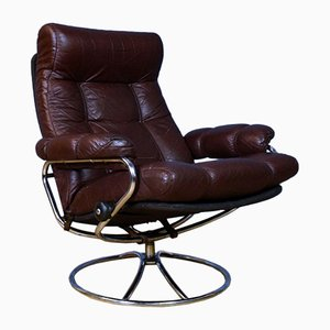 Mid-Century Norwegian Brown Leather Stressless Reclining Chair from Ekornes
