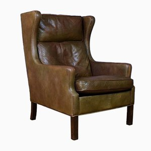 Mid-Century Danish Brown Leather Lounge Chair from Georg Thams, 1970s