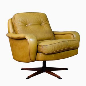 Mid-Century Danish Camel Leather & Rosewood Swivel Chair from Madsen & Schubell, 1970s