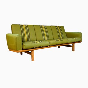 Mid-Century Danish Green Wool 3-Seat GE-236 Sofa from Hans Wegner for Getama