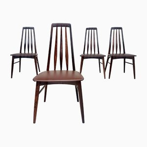 Mid-Century Rosewood & Leather Dining Chairs by Niels Koefoed for Koefoeds Hornslet, Set of 4