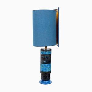 Tischlampe mit Lampenschirm aus Seide von Bitossi, 1960er