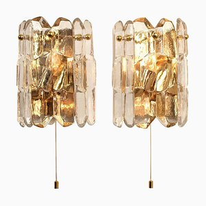 Gilt Brass and Glass Palazzo Wall Lights by J.T. Kalmar, 1970s, Set of 2