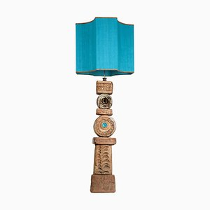 Ceramic Floor Lamp with Silk Lampshade by Bernard Rooke, 1960s