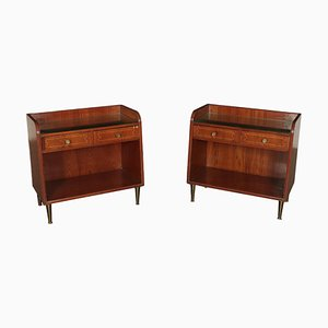 Italian Mahogany Veneer, Glass & Brass Bedside Tables from Esposizione Permanente Mobili Cantù, 1950s, Set of 2