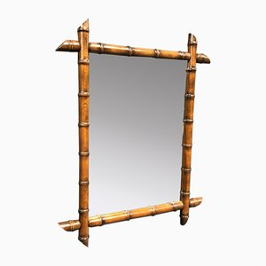 Large Faux Bamboo Mirror with Brown Frame