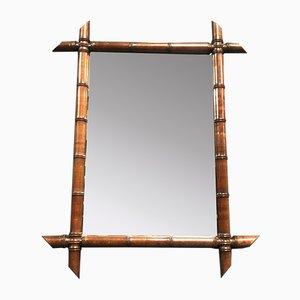 Großer Spiegel in Bambus Optik mit dunkelbraunem Rahmen