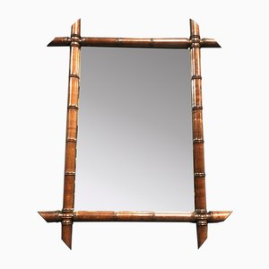 Large Faux Bamboo Mirror with Dark Brown Frame