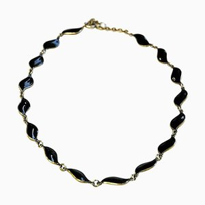 Black Enameled Necklace by Aksel Holmsen for David Andersen, Norway, 1950s