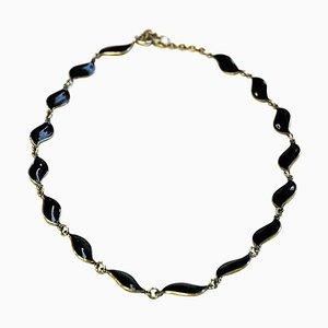 Schwarz Emaillierte Halskette von Aksel Holmsen für David Andersen, 1950er
