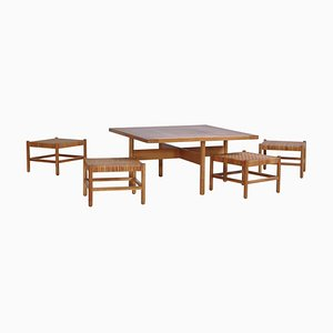 Oak & Cane Table and Stool Set by Axel Thygesen for Interna Danish Modern, 1950s, Set of 5