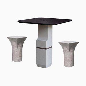 Lila Rasisse Tisch und Hocker von Frederic Saulou, 3er Set
