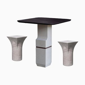 Purple Slate Ravissant Table and Stools by Frederic Saulou, Set of 3