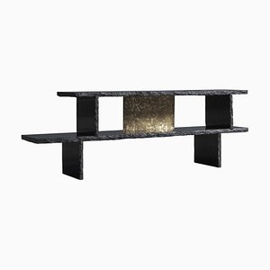 Brass and Slate Sculpted Buffet by Frederic Saulou
