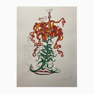 Tiger Lilies and Moustache by Salvador Dali for Edition Graphiques International, 1972