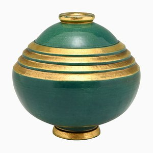 Art Deco Green & Gold Ceramic Vase by Marcel Guillard, Frassati for Edition Etling, 1920s