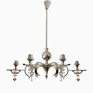 Vintage Nickel-Plated Chandelier by Lajos Kozma for Grünberger Jenő