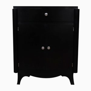 French Art Deco Ebonised Black Cabinet, 1930s