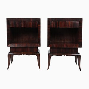 French Art Deco Bedside Cabinets in Macassar Ebony, 1920s, Set of 2