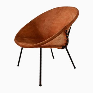 Vintage Balloon Suede Easy Chair, 1960s