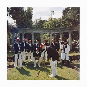 Dapper Cricketers C Print Framed in Black by Slim Aarons