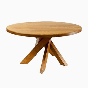 Round T21D Dining Table with 5 Legs by Pierre Chapo for chapo, 1970s
