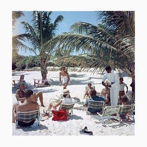 Drinks on the Beach C Print Framed in Black by Slim Aarons