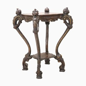 Antique Carved Walnut Gueridon or Pedestal Table, 1880s