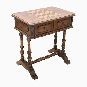 Vintage Walnut Inlay Chess Table or Side Table, 1990s