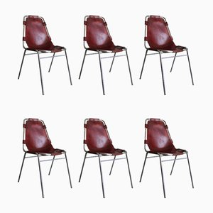 Les Arcs Chromed Metal and Leather Dining Chairs by Charlotte Perriand, 1967, Set of 6
