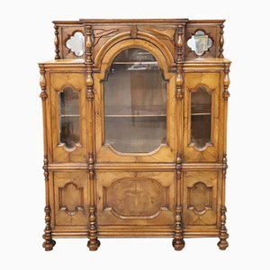 Solid Walnut Antique Vitrine, 1880s