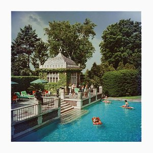 Family Pool C Print Framed in White by Slim Aarons