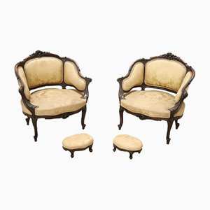 Antique Walnut Armchairs with Footrest, 1880s