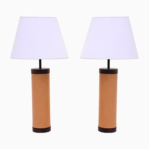 Rosewood & Leather Table Lamps from Bergboms, 1960s, Set of 2