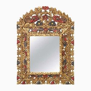 Specchio da parete vintage in legno intagliato, anni '90