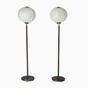 Lámparas de pie de latón de Bertil Brisborg para Nordiska Kompaniet, años 40. Juego de 2