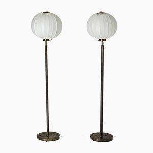 Messing Stehlampen von Bertil Brisborg für Nordiska Kompaniet, 1940er, 2er Set