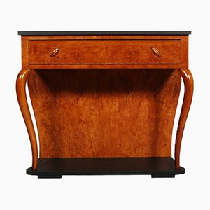 Art Deco Italian Blonde Walnut Console Table from Gaetano Borsani, 1920s