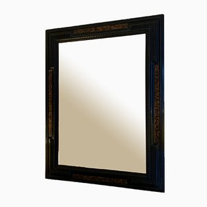 Flemish Style Faux Tortoiseshell and Ebonised Ripple Frame Mirror
