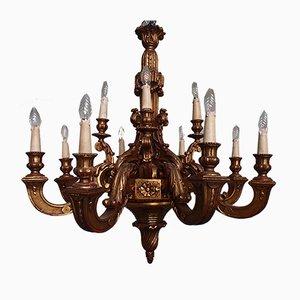 Mid-Century Kronleuchter aus Vergoldetem Holz mit 12 Leuchten