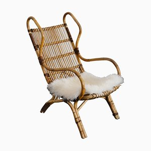 Model Continuum Lounge Chair in Curved Rattan by Gio Ponti for Pierantonio Bonacina, 1963