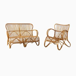 Bamboo Living Room Set, 1950s, Set of 2