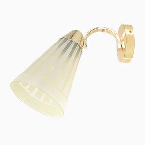 Deutsche Mid-Century Wandlampe aus Messing & Glas 1950er