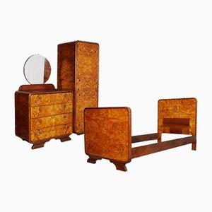 Set da camera Art Deco in betulla e radica di Osvaldo Borsani, anni '30