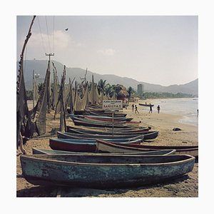 Fishing Boats Oversize C Print Framed in Black by Slim Aarons