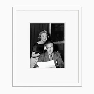 Doris Day & Bob Hope Run Through a Radio Script Archival Pigment Print Framed in White by Everett Collection