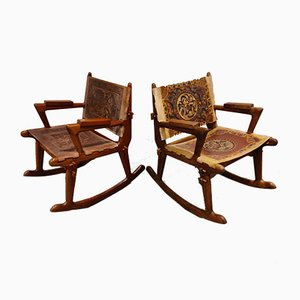 Leather & Wood Rocking Chairs by Angel I. Pazmino, 1960s, Set of 2
