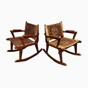 Sedie a dondolo in pelle e legno di Angel I. Pazmino, anni '60, set di 2
