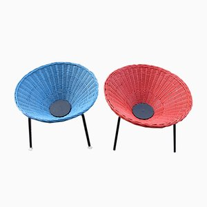 Schwedische Mid-Century Armlehnstühle aus Korbgeflecht, 2er Set