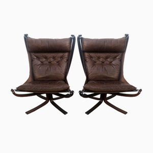 Vintage High-Back Falcon Chairs by Sigurd Resell for Vatne Møbler, Set of 2